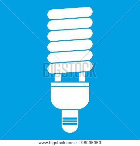 Fluorescent bulb icon white isolated on blue background vector illustration