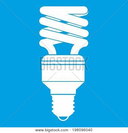 Energy saving bulb icon white isolated on blue background vector illustration