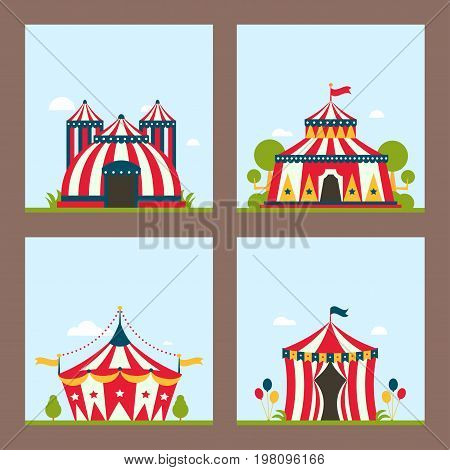 Circus tent marquee marquee with stripes and flags carnival entertainment amusement lelements flat vector. Flayer brochure layout card red park arena celebration.