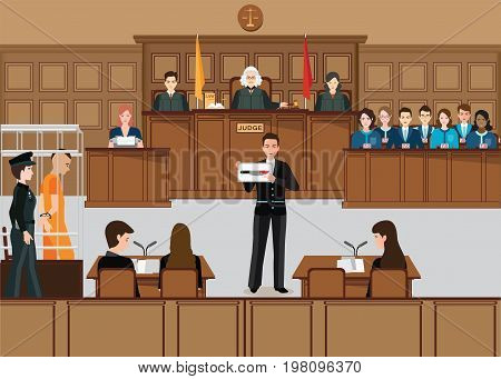 Isometric people judicial system set with judge defendant attorney jury and witnesses vector illustration.