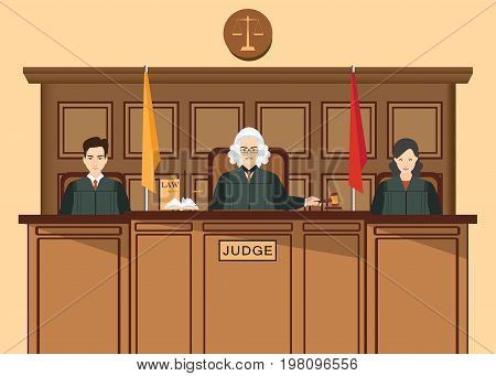 Isometric people judicial system set with Three judges sitting at the trial table Justice vector illustration.