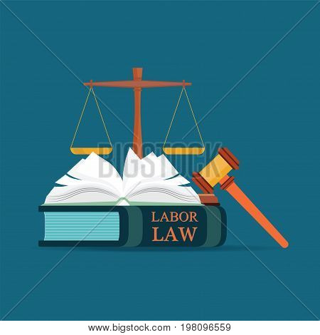 Labor Law books with a judges gavel in flat style Conceptual Law and justice set icon Vector illustration.