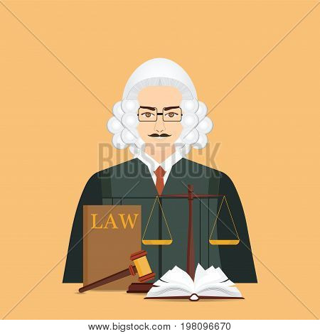 Male judge in wig with Law and justice set icon Scales of justice gavel and books in flat style Conceptual justice and law Vector illustration.