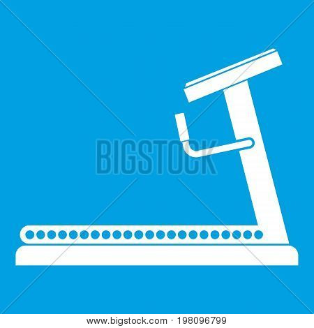 Treadmill icon white isolated on blue background vector illustration