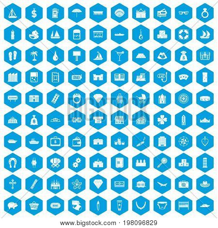 100 wealth icons set in blue hexagon isolated vector illustration
