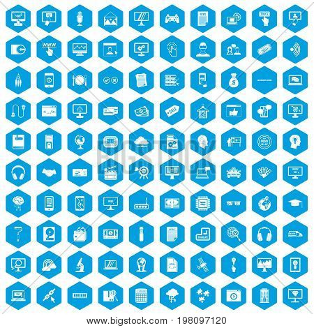 100 website icons set in blue hexagon isolated vector illustration