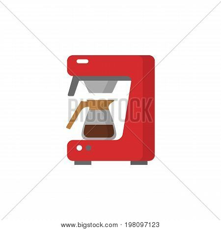 Modern coffee machine flat icon. Coffee maker with coffee pot. Household appliances isolated on colored background.
