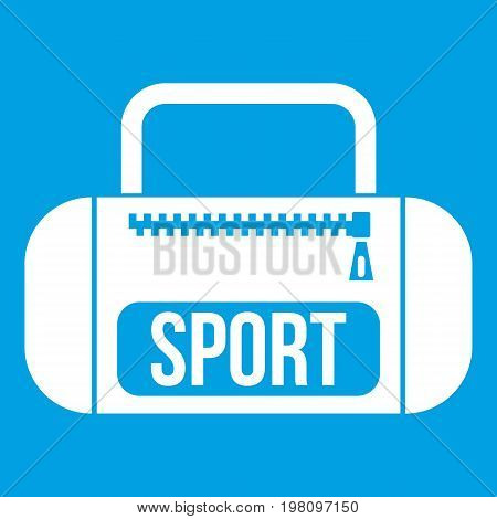 Sports bag icon white isolated on blue background vector illustration