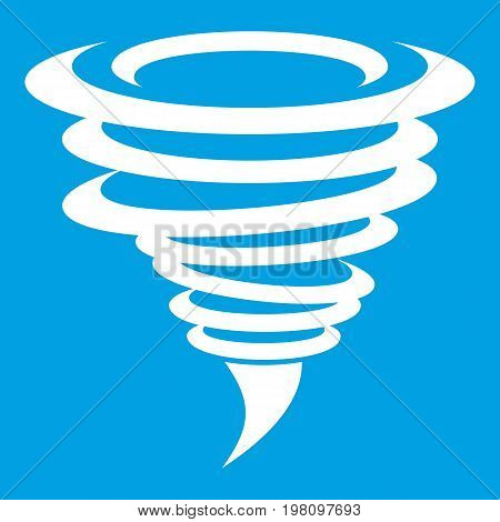 Tornado icon white isolated on blue background vector illustration