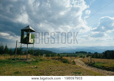 A lookout post used by hunters or animal watchers.
