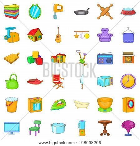 Indoor icons set. Cartoon style of 36 indoor vector icons for web isolated on white background