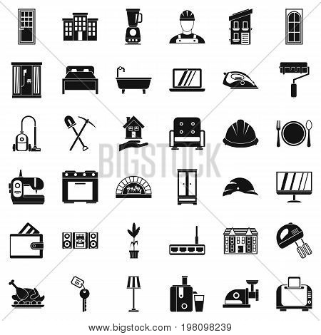 Comfortable house icons set. Simple style of 36 comfortable house vector icons for web isolated on white background