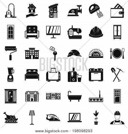 Comfortable place icons set. Simple style of 36 comfortable place vector icons for web isolated on white background