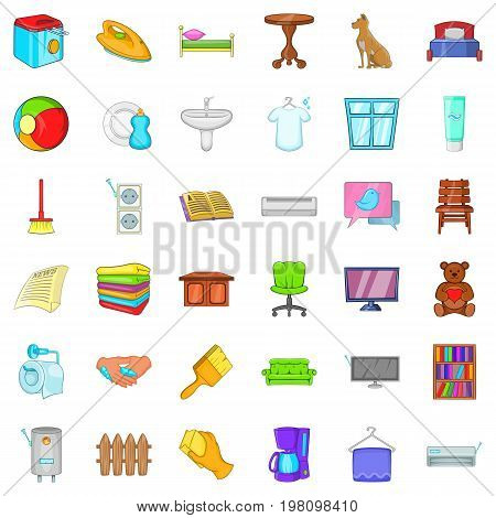 Comfort house icons set. Cartoon style of 36 comfort house vector icons for web isolated on white background