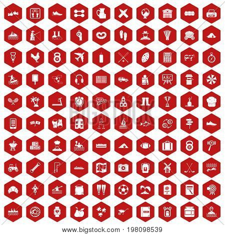 100 activity icons set in red hexagon isolated vector illustration