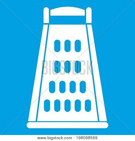 Kitchen grater icon white isolated on blue background vector illustration