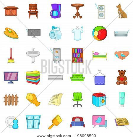 Comfort and rest icons set. Cartoon style of 36 comfort and rest vector icons for web isolated on white background