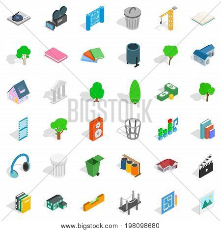 Comfortable house icons set. Isometric style of 36 comfortable house vector icons for web isolated on white background