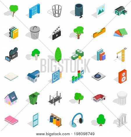 House thing icons set. Isometric style of 36 house thing vector icons for web isolated on white background