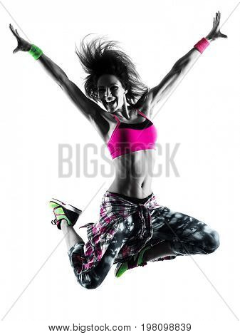 one caucasian woman fitness cardio exercises dancer dancing isolated in silhouette on white background