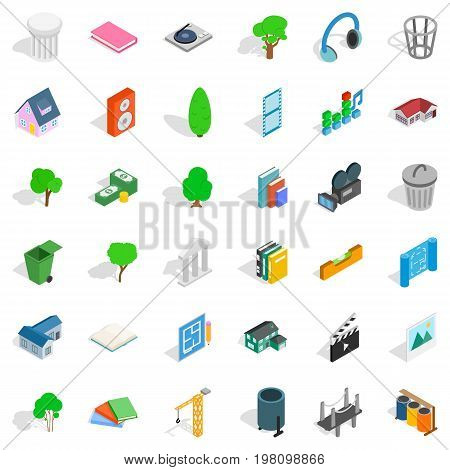 House in city icons set. Isometric style of 36 house in city vector icons for web isolated on white background