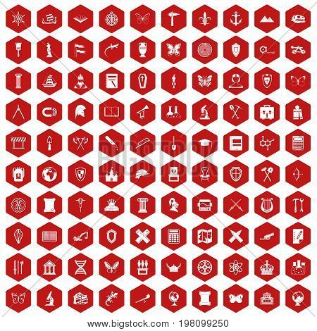 100 archeology icons set in red hexagon isolated vector illustration