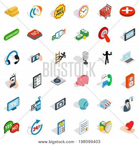 Community icons set. Isometric style of 36 community ector icons for web isolated on white background