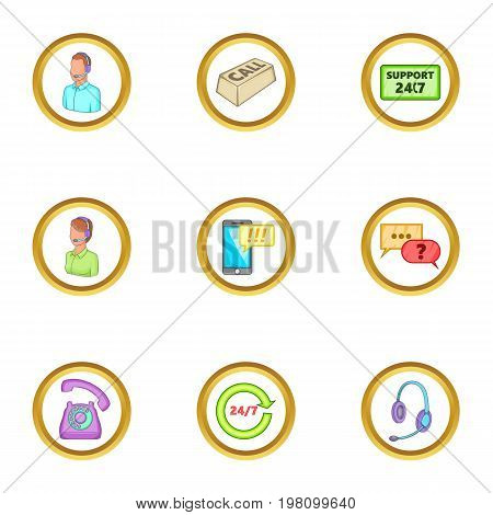 Support icons set. Cartoon set of 9 support vector icons for web isolated on white background