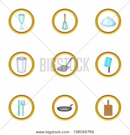Kitchen tools icons set. Cartoon set of 9 kitchen tools vector icons for web isolated on white background