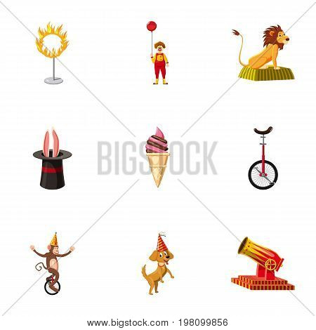 Circus icons set. Cartoon set of 9 circus vector icons for web isolated on white background