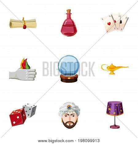 Magician icons set. Cartoon set of 9 magician vector icons for web isolated on white background