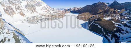 Tilicho Lake Frozen Aerial View Himalayas Nepal