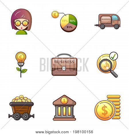 Bank icons set. Cartoon set of 9 bank vector icons for web isolated on white background
