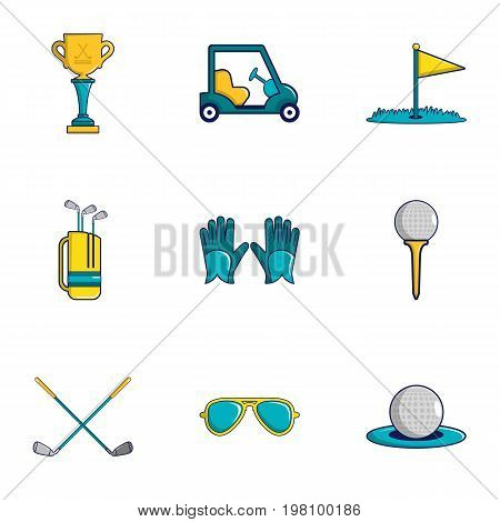 Golf icons set. Cartoon set of 9 golf vector icons for web isolated on white background