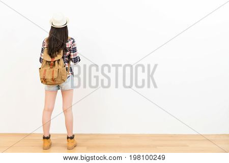 Traveler With Light Clothing Backpack Back View