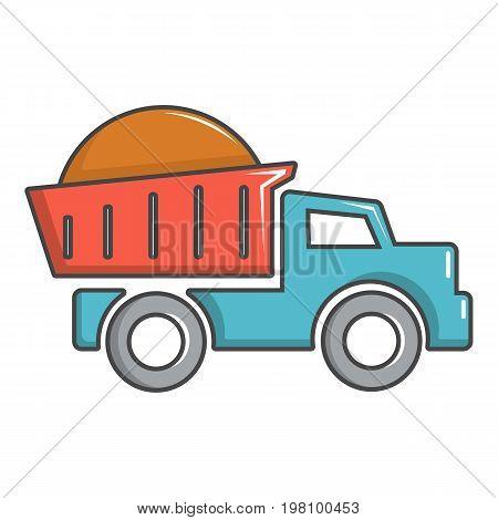 Heavy construction tipper icon. Cartoon illustration of heavy construction tipper vector icon for web design