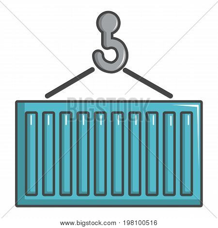 Crane lift a container icon. Cartoon illustration of crane lift a container vector icon for web design