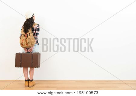 Back View Photo Of Pretty Young Traveler Woman