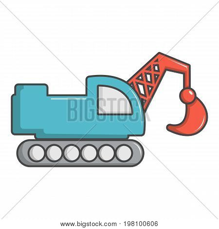 Crawler excavator truck icon. Cartoon illustration of crawler excavator truck vector icon for web design