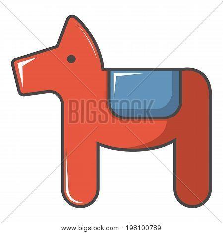 Dala horse Swedish symbol icon. Cartoon illustration of dala horse Swedish symbol vector icon for web design