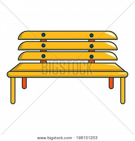 Wooden bench icon. Cartoon illustration of wooden bench vector icon for web design