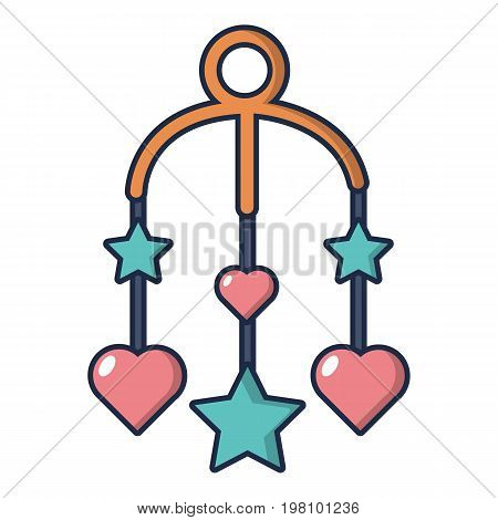 Baby bed carousel icon. Cartoon illustration of baby bed carousel vector icon for web design