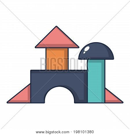 Brick house wooden toy icon. Cartoon illustration of brick house wooden toy vector icon for web design