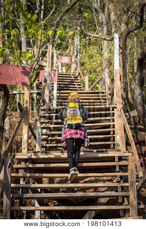 Tourist Young Woman Wearing Hat Enjoying The Walk Up The Stairs On The Mountain.
