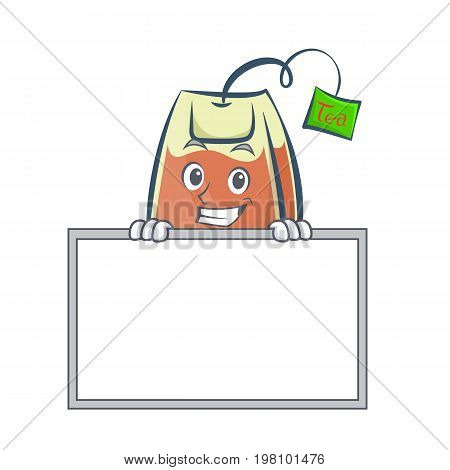 Grinning tea bag character cartoon with board vector illustration