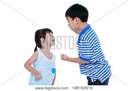 Quarreling conflict between brother and sister. Asian children are arguing and fighting. Concept about family & relationship problems. Isolated on white background.