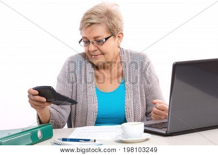 Worried Elderly Senior Woman Counting Utility Bills At Her Home, Financial Security In Old Age Conce