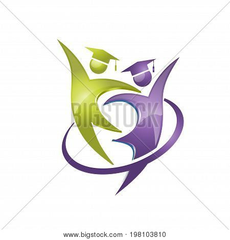graduate happy figure logo , modern concept of community and communications of success student graduation