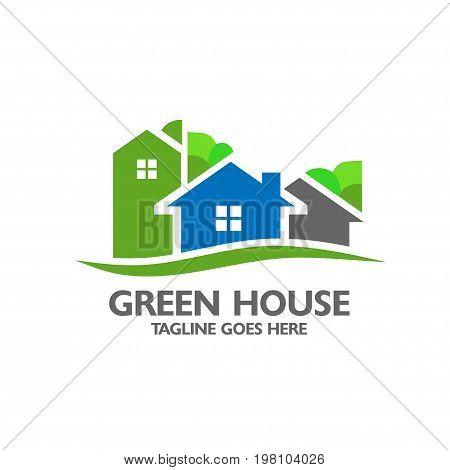 green house with neighbor, elegant modern and minimalist green house logo vector