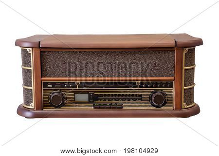 Old retro radio isolated on white background work with clipping path.